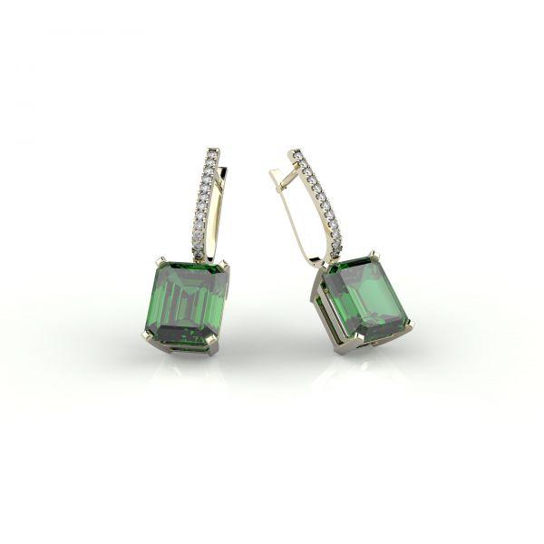 Náušnice Block exclusive s diamanty klip