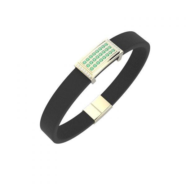 Pánský náramek Oblong Emerald s diamanty